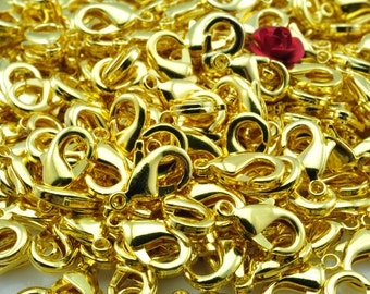 100 set  of Gold plated brass lobster clasp in 6x12mm