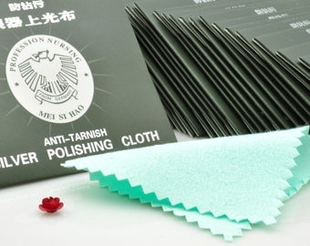 20 pcs of Silver 925 Anti-Tarnish Cloth Cleans Sterling Silver Cleaning Cloth Polishing Silver Cloth in 8 X 8cm