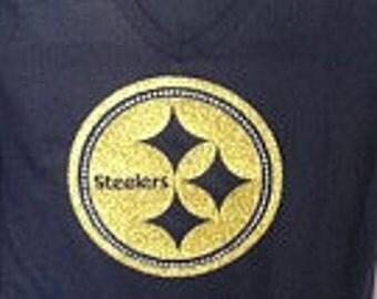 Custom Steelers glitter and rhinestone fitted t-shirt