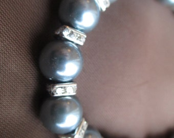 Blue faux pearl necklace