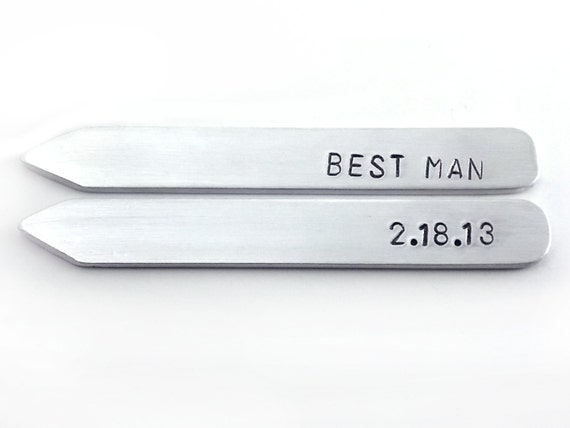 Best Man Gift, Aluminum, Wedding party gift, collar stay set, Metal, Hand Stamped, Custom men's accessory, gift for him, gift under 25