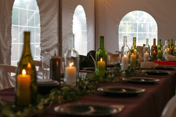 60 Cut Wine Bottle Centerpiece Lanterns for Weddings and Events