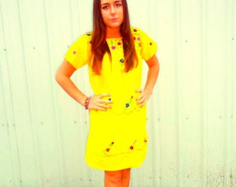 Vintage Ehnic Yellow Sundress
