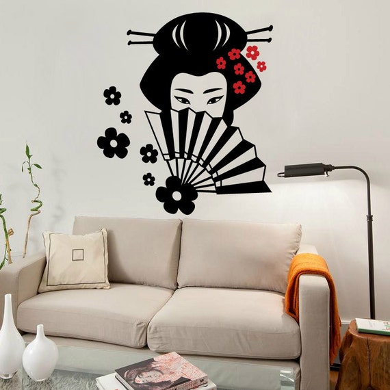 Japanese Geisha Wall Decal Cute Vinyl Sticker Home Arts Wall