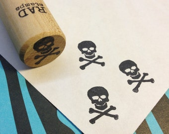 Pirate, Skull & Crossbones, Jolly Roger Rubber Stamp, Halloween