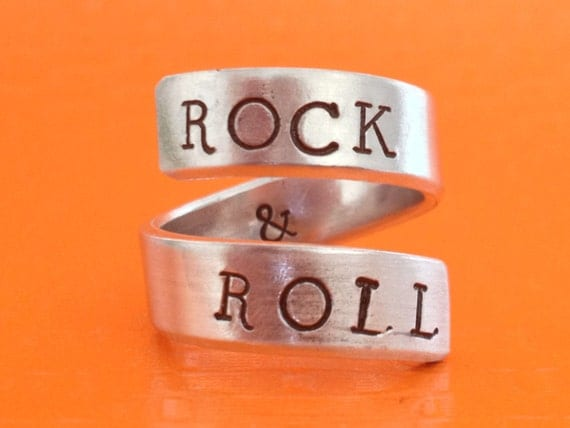 Rock And Roll  Aluminum Wrap Ring - Music Inspired - Gift For Musician