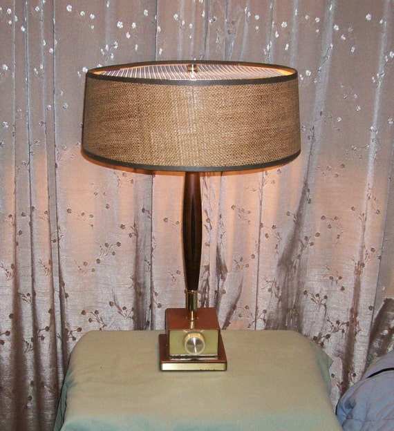 mid century modern wood table lamp w dimmer switch fabric shade