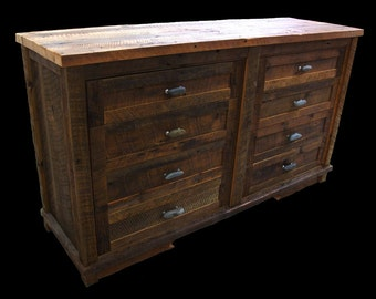 Reclaimed wood 8 Drawer Dresser w/Dark Wood Selection
