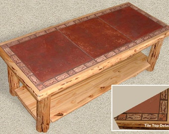 Rustic log furniture Mountain Hewn Tile Coffee Table