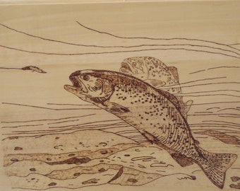 Brook Trout Woodburning Pyrography