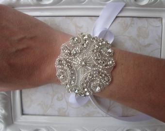 Bridal Bracelet - Rhinestone Bridal Bracelet - Bridal Cuff - Bouquet Wrap
