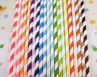 Striped Paper Straws - 75 Your Choice of Colors