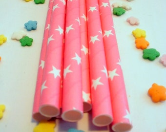 25 Hot Pink Paper Straws with Stars