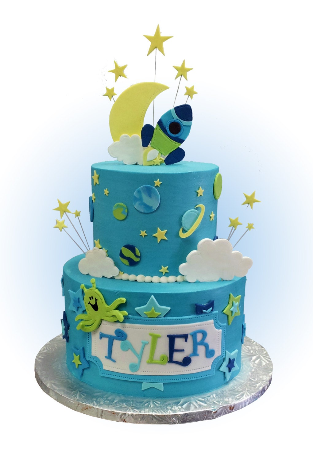 Childrens space themed cake toppers full kit by for Outer space cake design