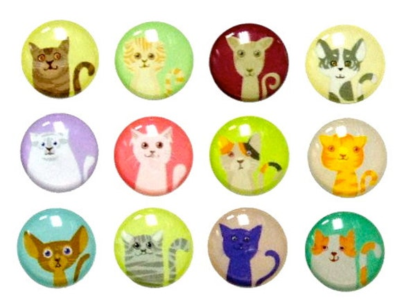 cats 12 pieces 3d semi circular iphone home button stickers