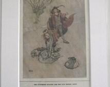ORIGINAL tipped-in print (Illustration) by William Heath Robinson. 'The Swineherd' 1913.