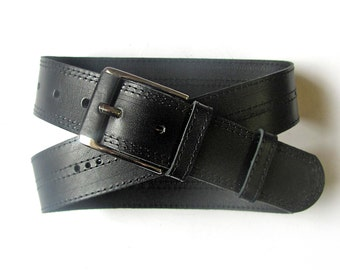 Black leather belt, ALL SIZES