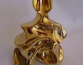 Sitting Sculpture Ceramic figure, Abstract  Modern Gold Sculpture, Art craft Ceramic.