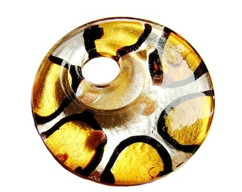 Dichronic glass round Lampwork yellow,blue,brown Glass Pendant -Ideal glass for pendant or necklace by GepArtJewellery.