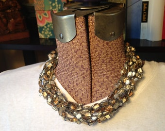 CLEARANCE - Shades of Gold Ladder Ribbon Necklace (short)