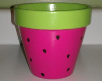 Watermelon Flower Pot hand painted