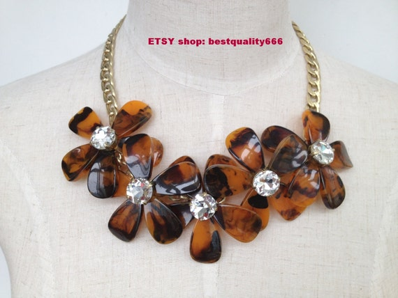 Exclusively 2013 TORTOISE FLOWER Crystal  GEM Stone Wedding Party Statement Beaded Bubble Bib  Necklace
