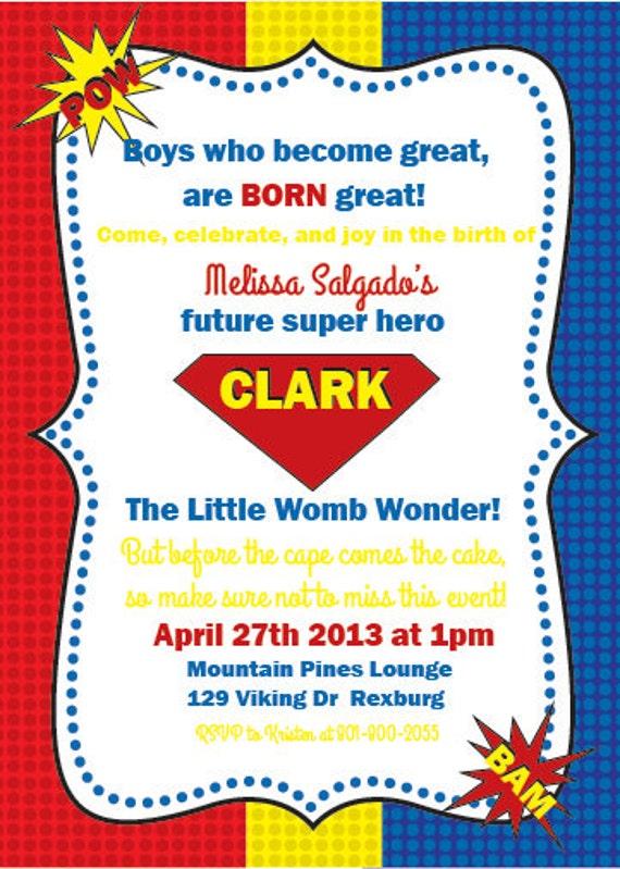 Items similar to Superhero Baby Shower Invitation on Etsy