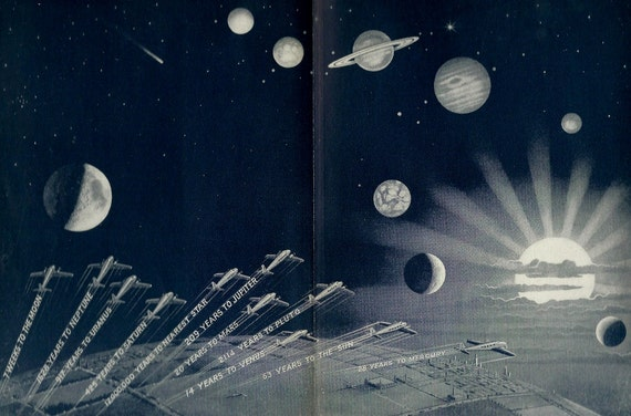Vintage airplane outer space illustration 1930 39 s flying for Retro outer space