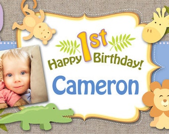 Happy Birthday Baby Boy Safari Banner