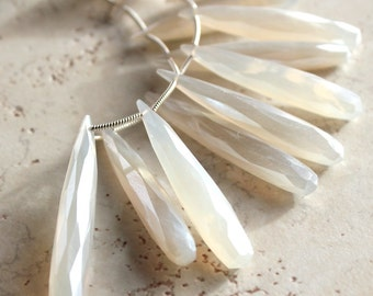 Ivory White Pearl Chalcedony Faceted Elongated Teardrop Briolettes 40 X 8mm - 12 Pieces