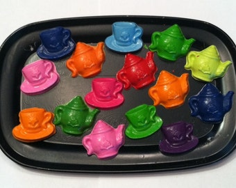 TEA PARTY - Party Favors - Birthday- summer party- set of 15 tea pot and tea cup crayons