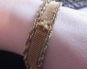 Vintage 1970s Bracelet Gold Tone Mesh Faux Seed Pearls Chains Safety Chain