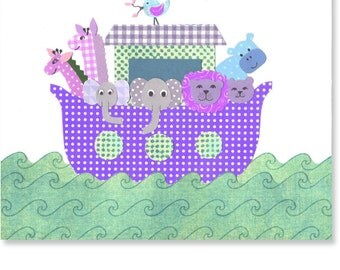 Noah's Ark Nursery Print Girl's Room Decor Religious Art Christian Pink Purple Aqua Animals Boat Biblical Story Two By Two