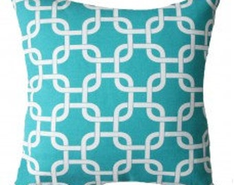 Double-sided Girly Turquoise Gotcha Geometric Pillow Cover- 18x18, 16x16, 14x14 or 12x18