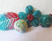 Handmade  polymer clay beads flower  faux glass ,leaf and 2 round beads