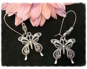 Silver Butterfly Earrings Dangle