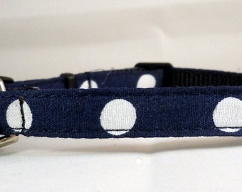 Cat Collar or Kitten Collar - Navy Blue Polka Dots