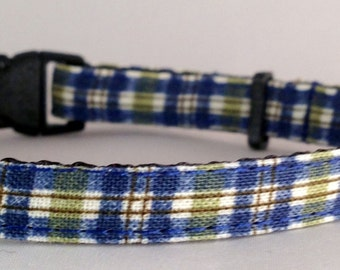 Cat Collar - Blue and Green Plaid