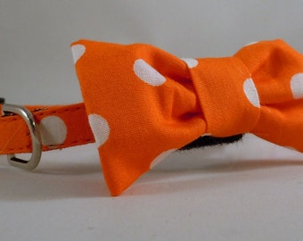 Cat Collar or Kitten Collar with Flower or Bow Tie  - Orange Polka Dots