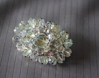 Vintage Large Oval Crystal Brooch