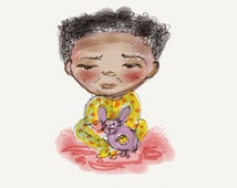 Kids room decor AFRICAN BABY GIRL and Toys Art Print