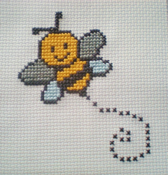 Bumble bee counted cross stitch kit 6 count for children for Ape punto croce schema