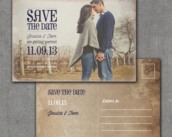 Rustic Save the Date Postcard, 4x6, Printable, digital file