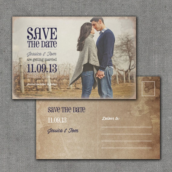Items Similar To Rustic Save The Date Postcard, 4x6
