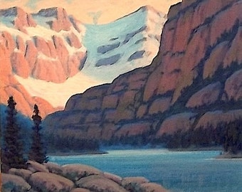SALE 'Edgar's Lake' -  original Landscape Painting - oil - pink- lake painting - mountain painting - sunset - impressionist - western