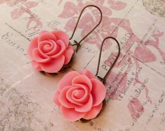 50% OFF Earrings, Pretty pink rose dangle earrings No. E68