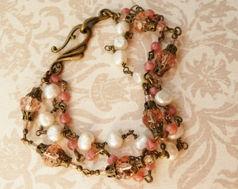 50% off SALE Multistrand rose glass and pearl bracelet No. B1 1