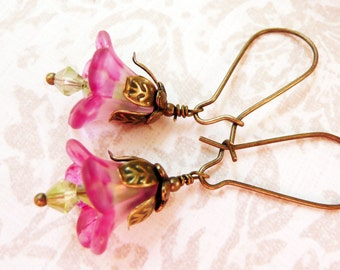 50% OFF Earrings, Pink and Green lucite flower dangle earrings No. 173