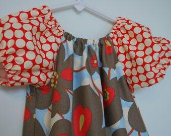 Amy Butler's Morning Glory in Linen & Full Moon Polka Dot in Cherry - Ruffle Peasant Dress