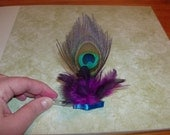 Peacock Barrette With Purple Feathers And Blue Satin Ribbon